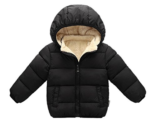 Girl's Warm Fleece Lined Solid Jacket Winter Cute Shearling Pea Coat for Kids 120 Black by Luodemiss