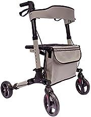Arebos Lichtgewicht rollator | aluminium | 6-voudig in hoogte verstelbaar | comfortabele zitting | stokhouder | afneembare boodschappentas | inklapbaar | klaar voor gebruik