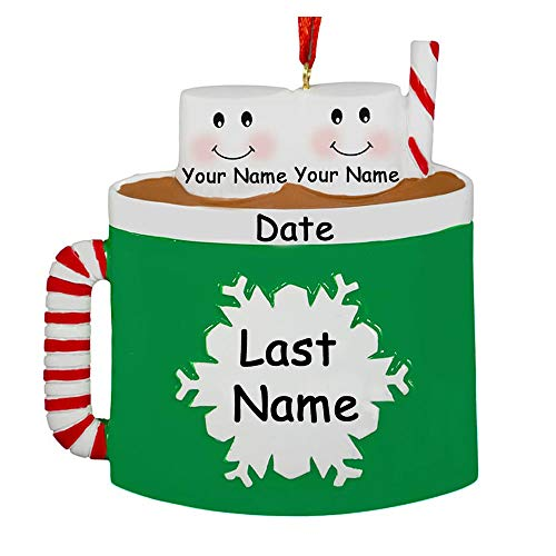 Personalized Marshmallow Couples Christmas Ornament - Hot Cocoa Coffee Mug with Snowflake Detail - Your Choice Names and Date
