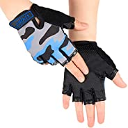 Children Half Finger Cycling Gloves Breathable UV Protection Fingerless Gloves Non-Slip Gel Bicycle Bike Ridin