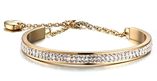 HUANIAN Stainless Steel 6mm Width 2 Row of Crystal Bangle Cuff Bracelet with Heart charm for (10k Heart Charm Bracelet)