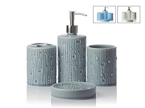 gray bathroom accessories set. Designer 4 Piece Ceramic Bath Accessory Set  Includes Liquid Soap or Lotion Dispenser w Premium Metal Pump Toothbrush Holder Tumbler Dish Modern Gray Bathroom Accessories Amazon com
