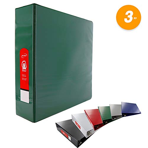 2 D-ring Presentation Binder - Emraw Green Slant D Ring View Binder with 2 Pockets Presentation Durable View Round Ring Binder 3 inch Customize able Clear View Notebook Binder for Home Office and School