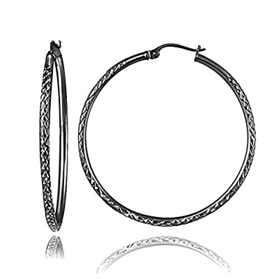 cheap Black Flashed Sterling Silver 2mm Diamond Cut Round Hoop Earrings, All Sizes