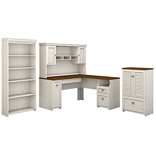 (Bush Furniture Fairview 60W L Shaped Desk with Hutch, Storage Cabinet with Drawer and 5 Shelf Bookcase in Antique White and Tea Maple)