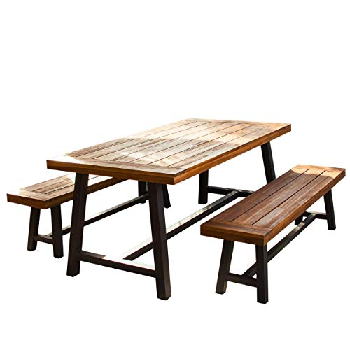 - Great Deal Furniture Bowman | Wood Outdoor Picnic Table Set | Perfect for Dining
