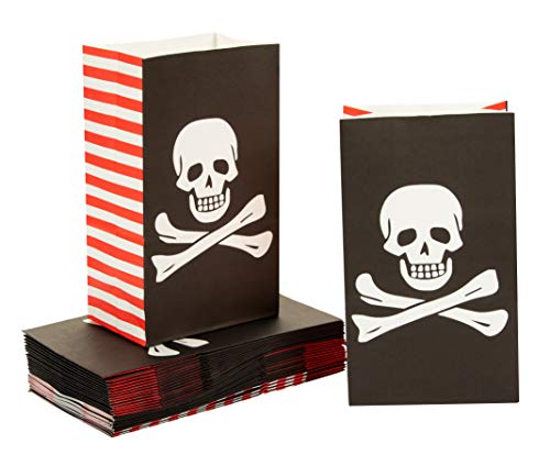 36-Pack Pirate Party Bags with Skull Design for Goodies, Favors, and Treats, Kids' Pirate Themed Birthday Party Supplies, Black, 5 x 8.7 x 3.2 Inches