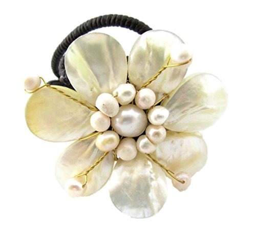 Freshwater Cultured Mother of Pearl Flower Bracelet Handmade Cuff Open Bangle For Women (White - Pearl Cuff Flower
