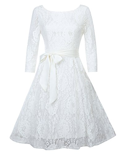 OUGES Women's Round Neck Half Sleeve Flare Lace Party Dress(White,L)