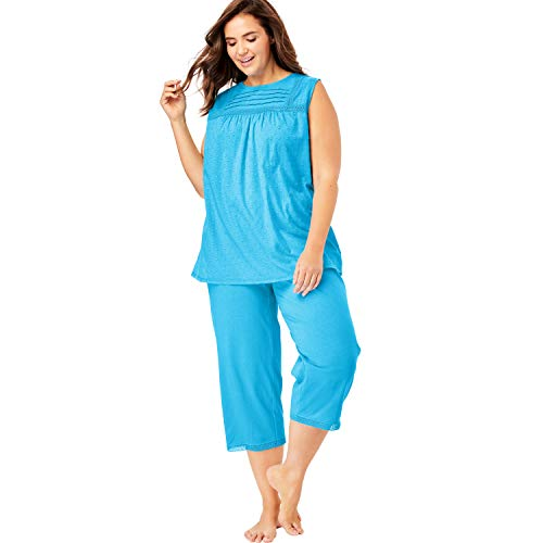 Dreams & Co. Women's Plus Size Swiss Dot Capri Pj Set - Brilliant Blue, 22/24