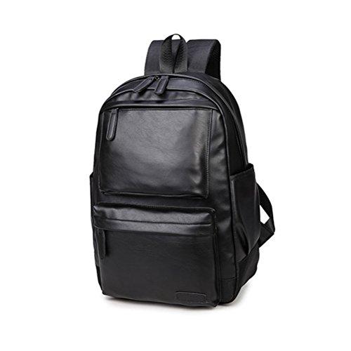 OULII PU Leder Notebook Laptop Rucksack Mode Reiserucksack für Herren (Schwarz) 2ofbeCCzSt