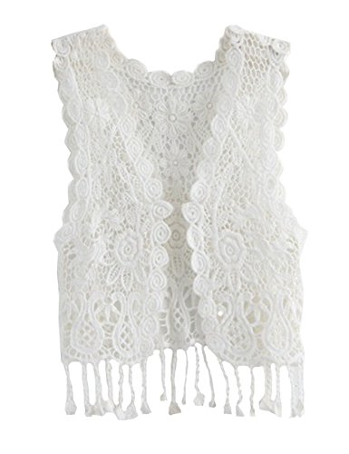 ZHUANNIAN Little Girl's Crochet Vest with Fringe White