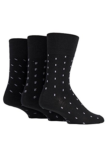 Gentle Grip - Mens 3 Pack Lightweight Loose Top Non Binding Wool Dress Socks (7-12 US, MWGG03) (Ltd Bindings)