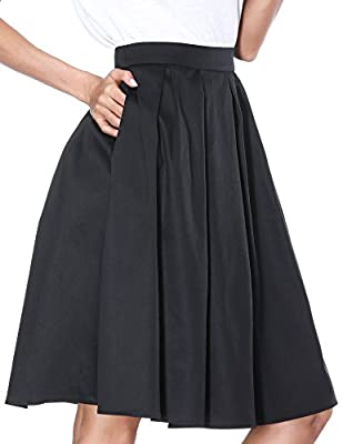 Janmid Women's High Waisted A Line Street Skirt Skater Pleated Full Midi Skirt
