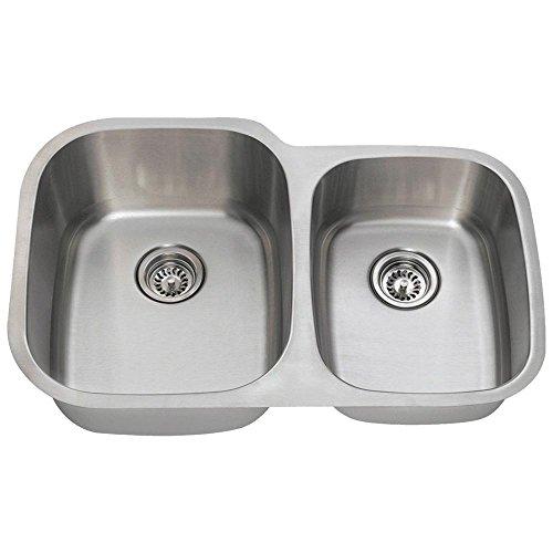 503L 16-Gauge Undermount Offset Double Bowl Stainless Steel Kitchen Sink (Stainless Steel Undermount Kitchen Sink Double Bowl Offset)