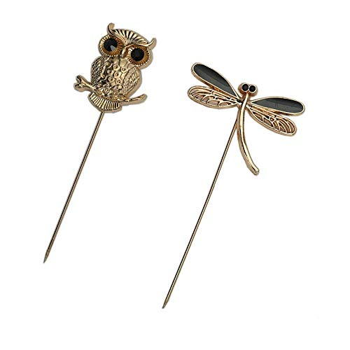 AngelShop Men Metal Brooch Pin Vintage Lapel Stick Pin Suit Tie Brooch Badge 2PCS (2PCS Dragonfly Owl)