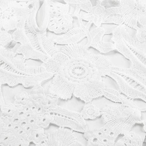 Shirt Tromba Moda Collo Camicia Baggy Top Blusa Pizzo Camicetta Primaverile Rotondo Eleganti Casual Bianca Glamorous Shirts Maniche Camicie Monocromo Lunga Donna Scavare Manica Semplice Giovane rZUqE1r