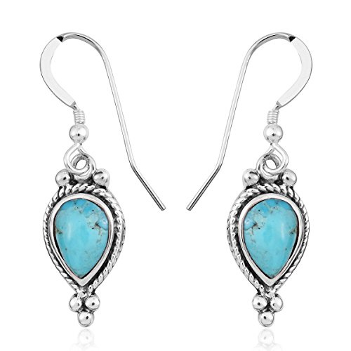 (925 Sterling Silver Pear Kingsman Turquoise Drop Dangle Earrings for Women Jewelry Gift)