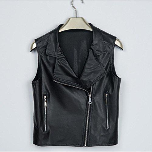 HARRYSTORE 2017 Moda Mujer Casual irregular de cremallera sin mangas chaqueta de chaqueta traje Cool Waistcoat Negro
