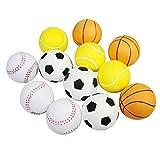 workouty 12pcs Foam Ball Hand Strength Squeeze Ball Children Adult Stress Relief Toy, 2.5inch (Football, Basketball,Tennis Ball,Baseball)