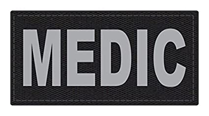 TACTICAL IDENTIFICATION PATCHES Medic Patch - 4x2 - Gray Lettering - Black  Backing - Hook Fabric