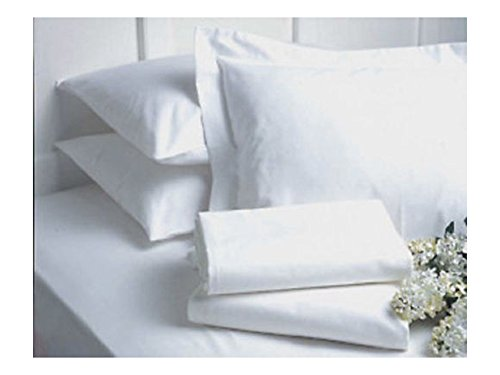 LOT of 6 NEW QUEEN SIZE WHITE HOTEL FITTED SHEETS T180 BEDDINGS from Unknown