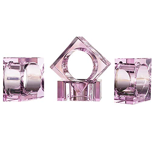 DONOUCLS Crystal Napkin Holder Rings Square Design Christmas Decorations for Dinner Pink Set of 4 4 Crystal Napkin Rings