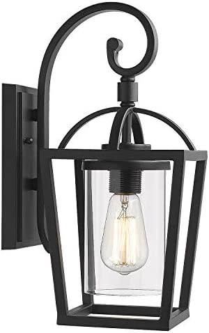 Emliviar Outdoor Lighting Fixtures Wall Mount, Exterior Wall Lantern, Black Finish with Clear Glass, YE19101-W BK