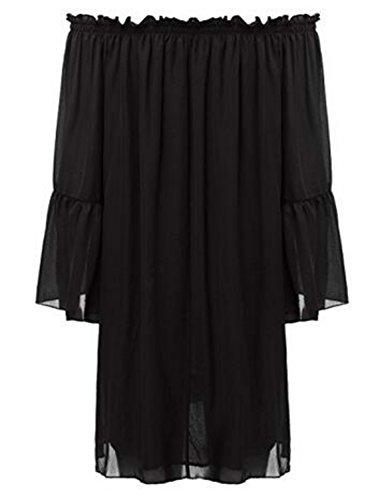 Robes Colygamala Épaule Sexy De Femmes En Mousseline De Soie Blouse Manches Boho Volantée