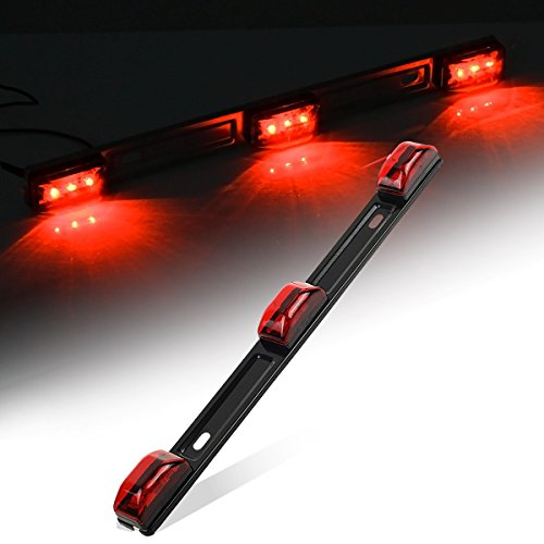 Partsam Red Clearance ID BAR Marker Light 3 Light 9 LED Trailer Sealed Stainless Steel, Sealed 3-Light Truck Trailer Identification LED Light Bar Red Led Strip w/Black Base