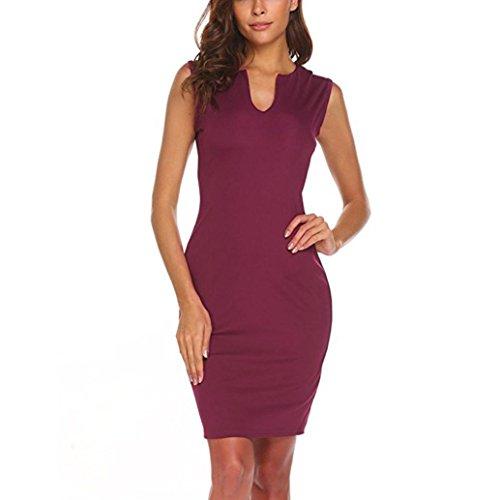 col JIANGfu V au travail Wear Women's robe sans femme Vin manches crayon de elegante robes bureau Bodycon rX7rPnxSq
