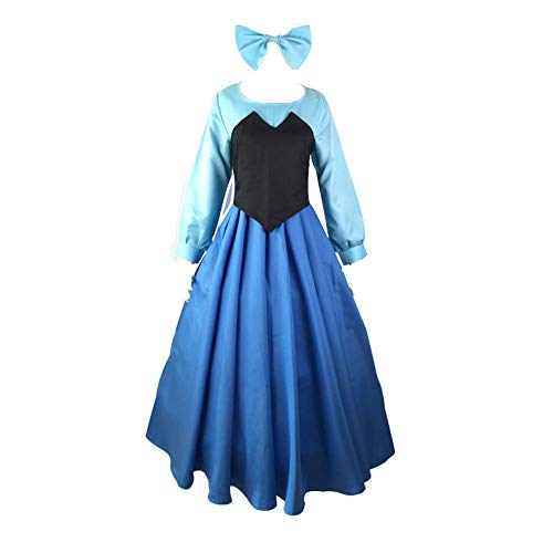 Fanstyle The Little Mermaid Dress Cosplay Costume Ariel Princess Dress Vest Bow Headdress 3pcs Blue]()