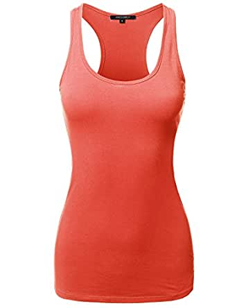 Awesome21 Solid Basic Sleeveless Racer-Back Cotton Based Tank Top Bright Coral Size M