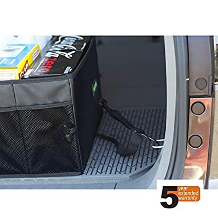 Drive Auto Products Car Trunk Organizer Storage with Straps 2-Pack Black