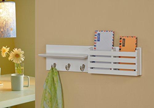 White Finish Entryway Coat Rack Mail Envelope Storage and Ke