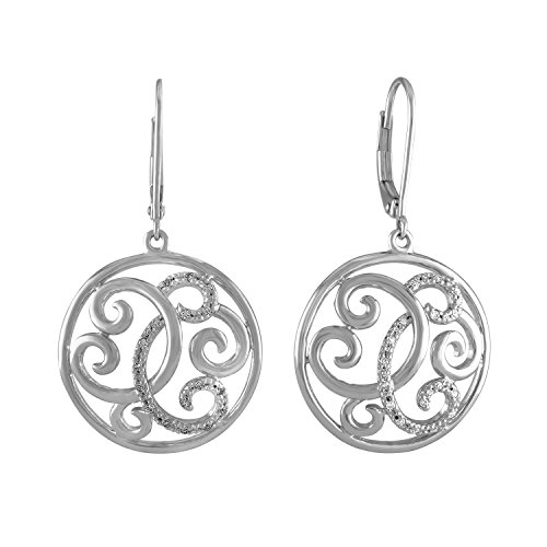 Diamond Circle Earrings in Sterling Silver by AX Jewelry