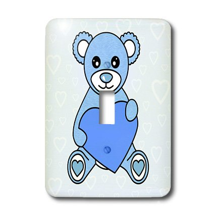 3dRose lsp_15374_1 Valentines Day Cute Blue Teddy Bear Holding Heart Toggle Switch (Teddy Switchplate)