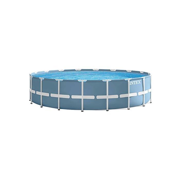 41q6343oBTL Piscina circular, de estructura metálica y lona en color azul celeste, capacidad para: 24.311 litros/agua Incluye depuradora de cartucho de 5.678 litros/hora de cartucho Tipo A Sistema de aireación Hydro Technology: mejora la filtración, aumenta la pureza del agua y mejora la cantidad de iones negativos sobre la superficie del agua