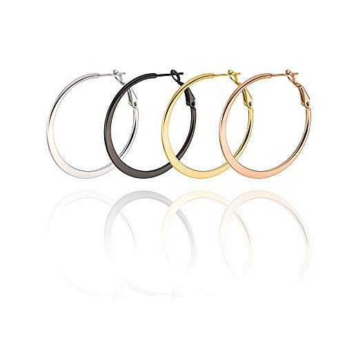 - Flat Hoop Earrings 4 Pairs Hypoallergenic Big Round Earrings for Women Girls 50mm