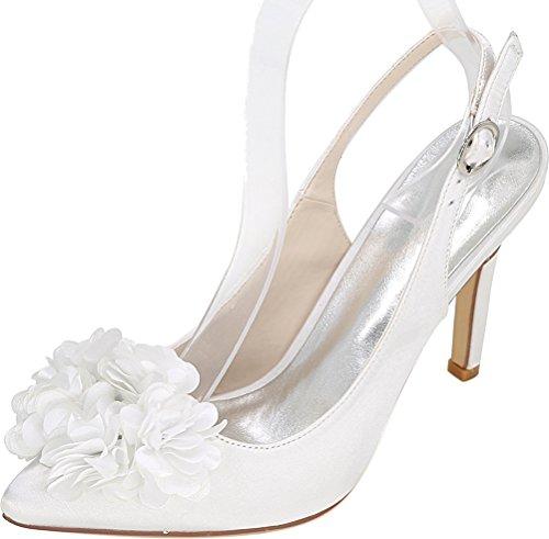 Wedding Ol Slingback Sandals Heeled Job Satin Nightclub Comfort 0608 Toe Pointed Ladies White 20h Work Bride Salabobo Htw4F07qf
