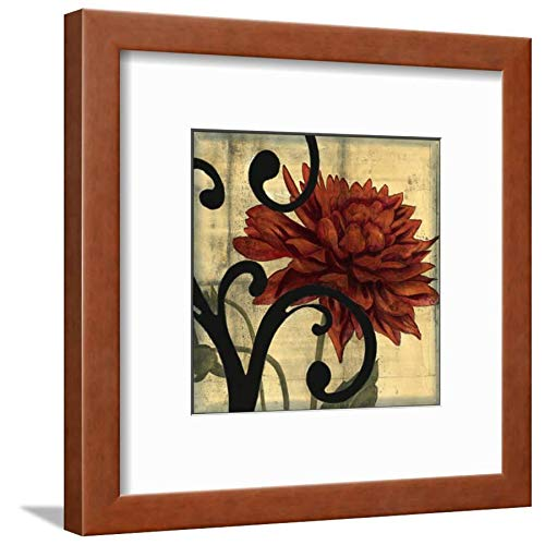 ArtEdge Dahlias Scrolls IV Jennifer Goldberger, Brown Framed