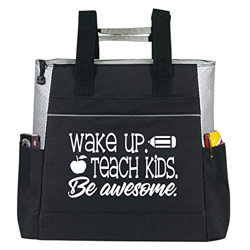Large Zippered Teacher Tote Bags with Pockets -