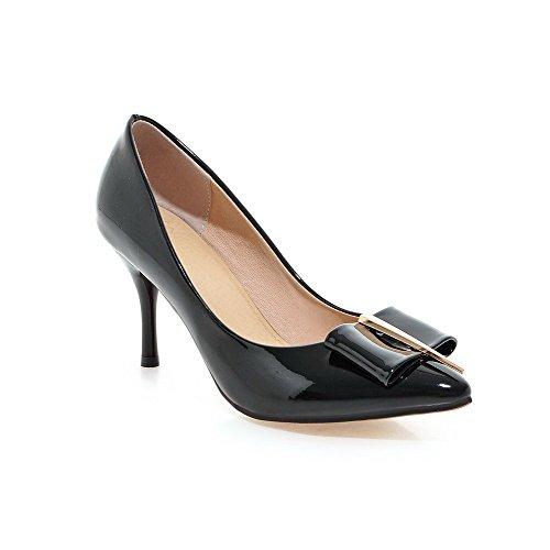 AgooLar Damen Lackleder Rein Ziehen auf Spitz Schließen Zehe Stiletto Pumps Schuhe Schwarz