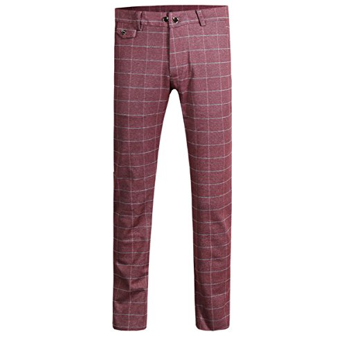 Cloudstyle Mens Pants Slim Fit Flat Front Plaid Dress Tapered Suit Pants,Red,Medium(33W נ30L)