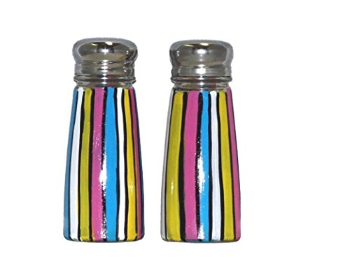 (Salt & Pepper Shakers with Pop Art Multi-Color Stripes. Hand Painted.)