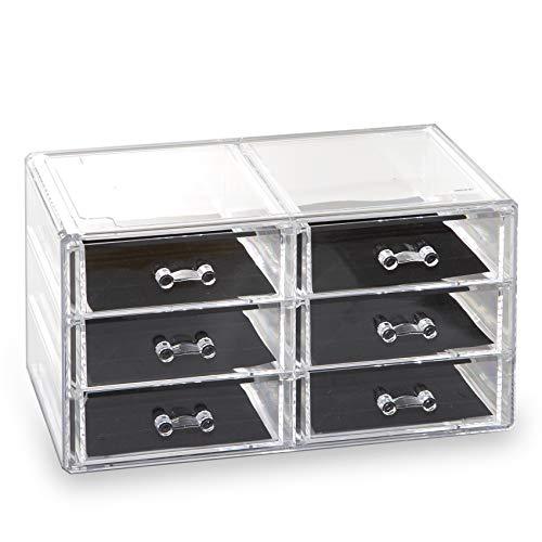 BINO 6 Drawer Acrylic Jewelry and Makeup Organizer, Clear Cosmetic Organizer Vanity Storage Display Box Make Up Organizers and Storage Makeup Stand (6 Drawer)