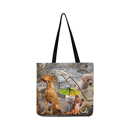Funny Animals Family Chihuahua Dogs Cats Canvas Tote Handbag Shoulder Bag Crossbody Bags Purses For Men And Women Shopping Tote (Partridge Family Bag Shopping)