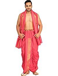 Exotic India Dhoti and Angavastram Set with Wide Golden