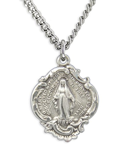 (Women's Sterling Silver Baroque Style Miraculous Medal Necklace + 20