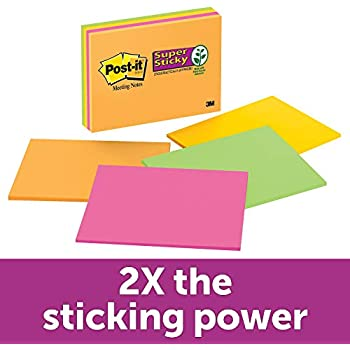 Post-it Super Sticky Notes, Bright Neons, Call out Important Information, Recyclable, 6 in. x 8 in, 4 Pads/Pack, 45 Sheets/Pad (6845-SSP)